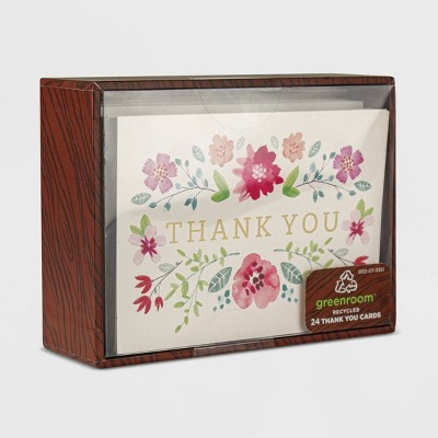 24ct Ditsy Floral Blank Thank You Cards
