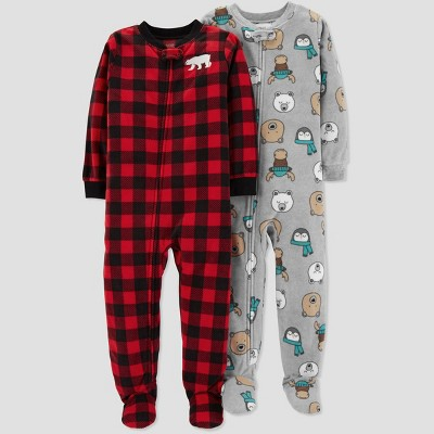 Baby Boys' Fleece Buffalo Check Pajama Set - Just One You® made by carter's Red 12M