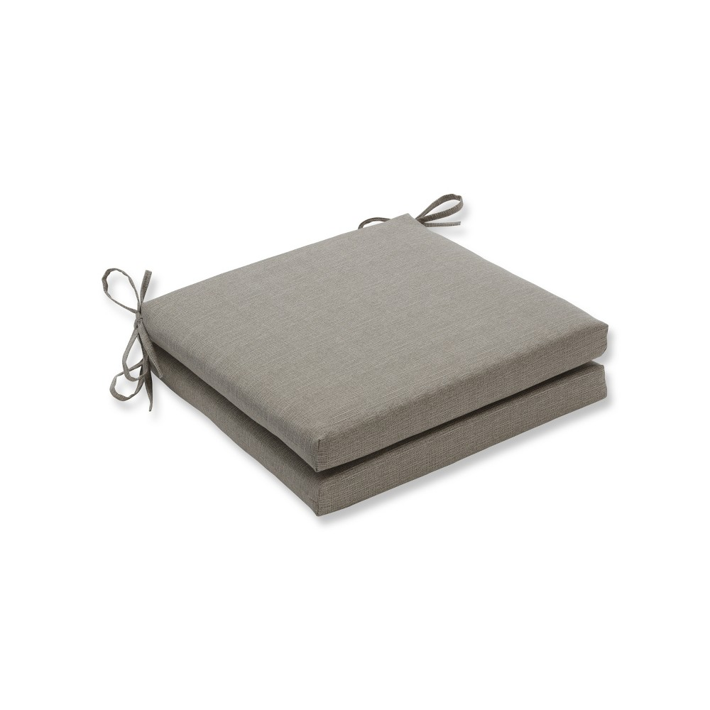 Monti Chino 2pc Indoor/Outdoor Squared Corners Seat Cushion - Pillow Perfect, Tan