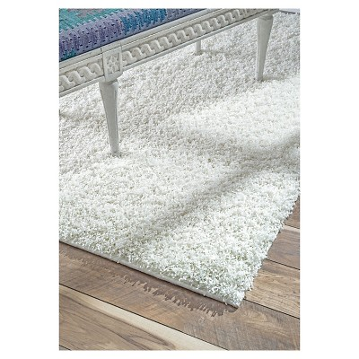 'White Solid Loomed Round Area Rug - (8') - nuLOOM, Size: 7' 10'' Round'