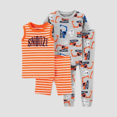 Baby Boys' 4pc Construction Pajama Set - Just One You® made by carter's Orange 18M