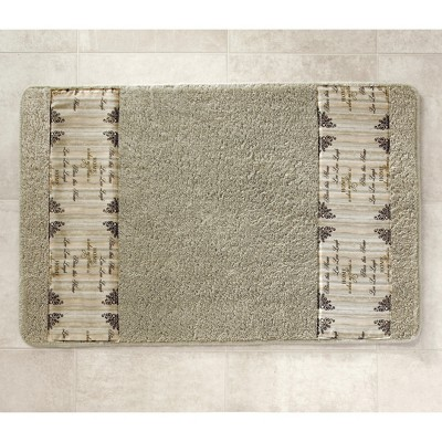 Lakeside Inspirational Farmhouse Bath Rug with Home Sentiments, Non-Slip Latex Back