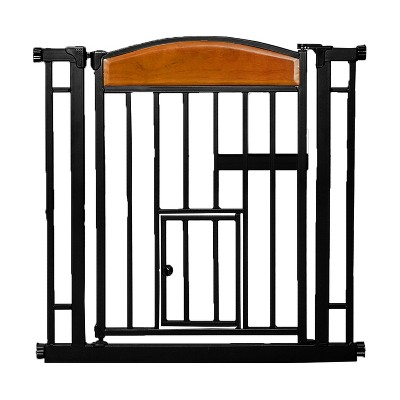 Carlson Pet Products Design Paw Automatic Easy Close Walk Through Indoor Home Doorway Pet/Baby Safety Gate, Black Metal Steel