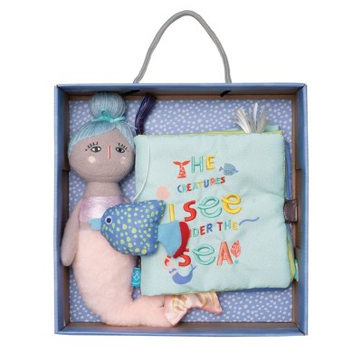 Manhattan Toy Under the Sea Soft Book with Mermaid Soft Doll Gift Set for Babies