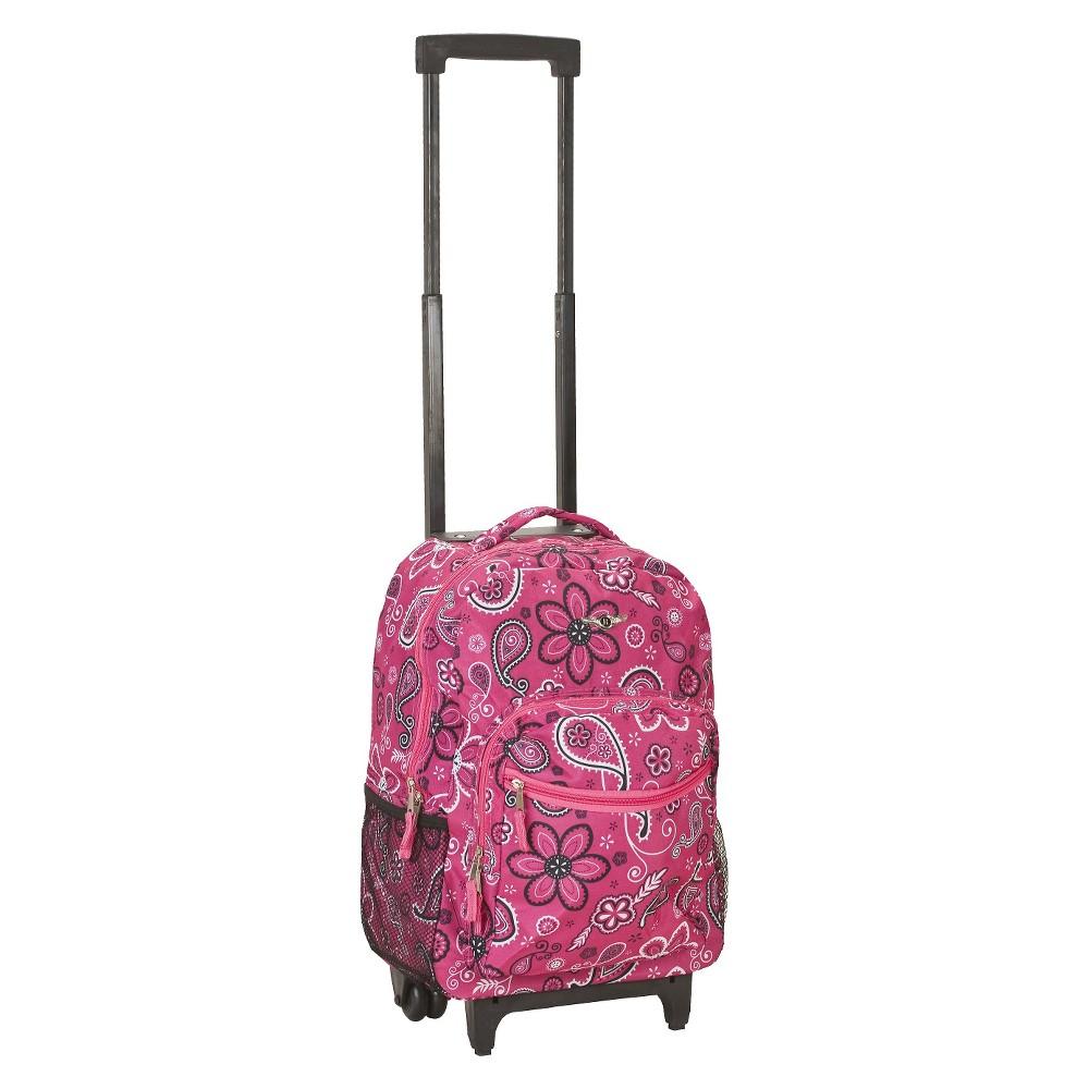 Rockland 17 Roadster Rolling Backpack Pink
