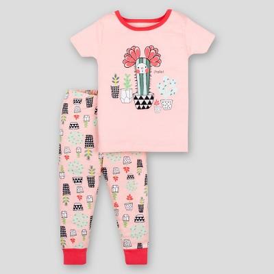 Lamaze Baby Girls' 2pc Cactus Organic Cotton Short Sleeve Pajama Set - Pink 18M