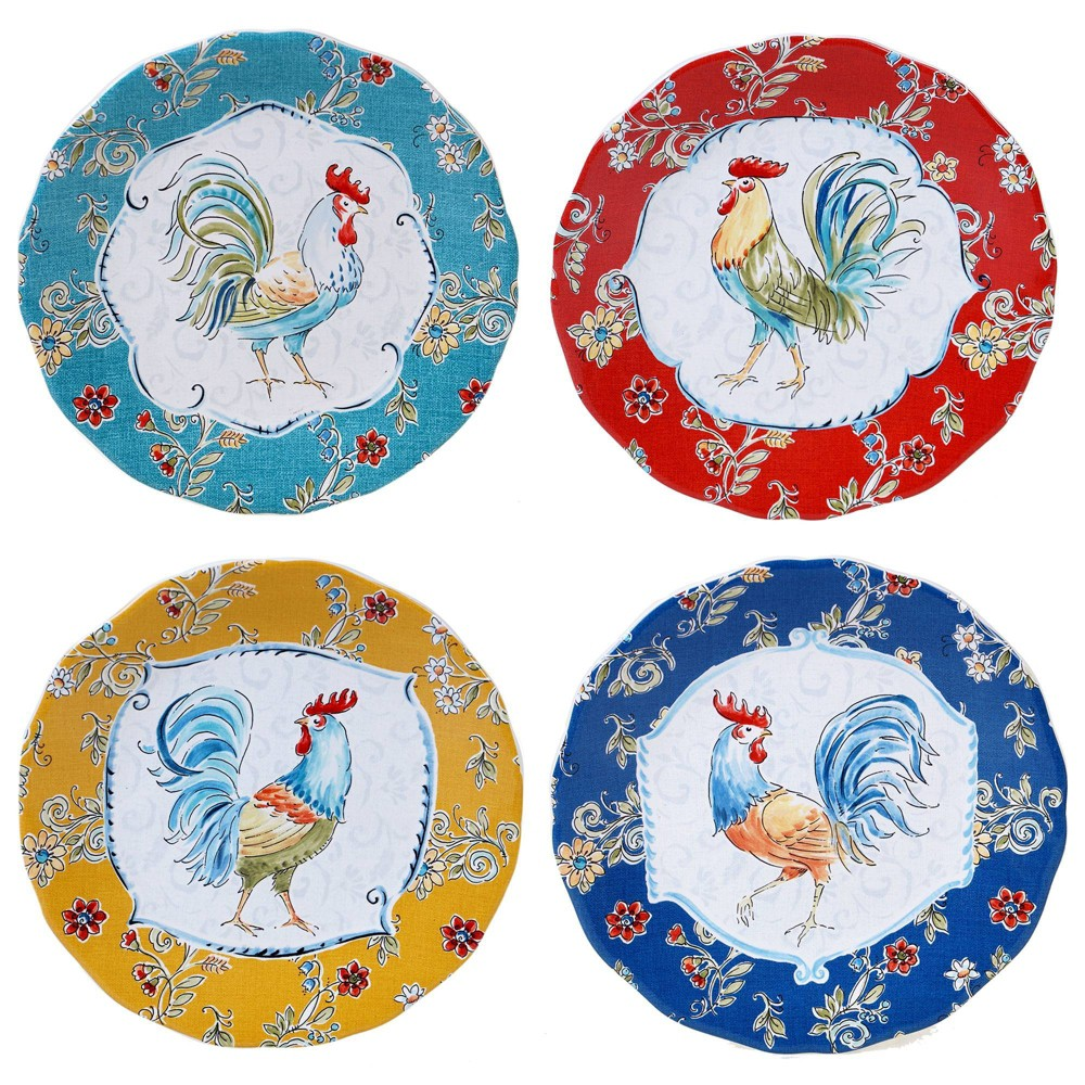 "Coupons 8.8"" 4pk Earthenware Morning Bloom Salad Plates - Certified International"
