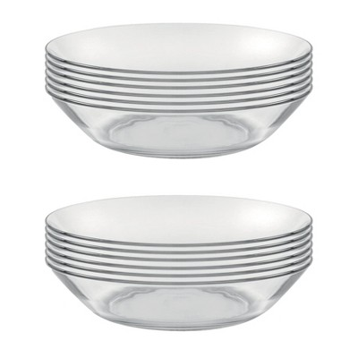 Duralex Lys Calotte 8 Inch Everyday Formal Dining Clear Tempered Glass Round Dinnerware Plates, Made in France, Set of 6 (2 Pack)