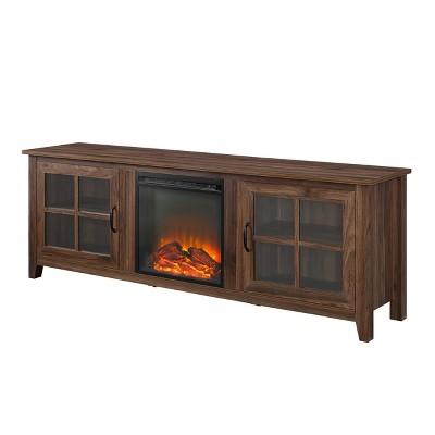 70  Farmhouse Wood Fireplace Glass Door TV Stand Dark Walnut - Saracina Home