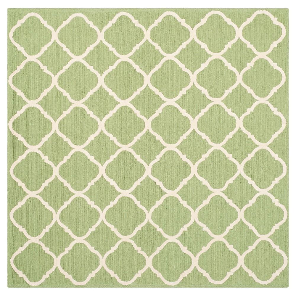 Green/Ivory Geometric Hooked Square Area Rug 7'X7' - Safavieh
