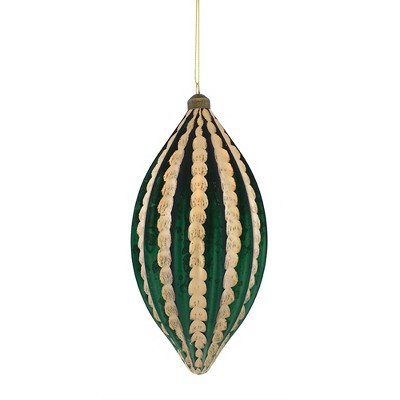 """Melrose 10.5"""" Green and Gold Glass Christmas Finial Ornament"""