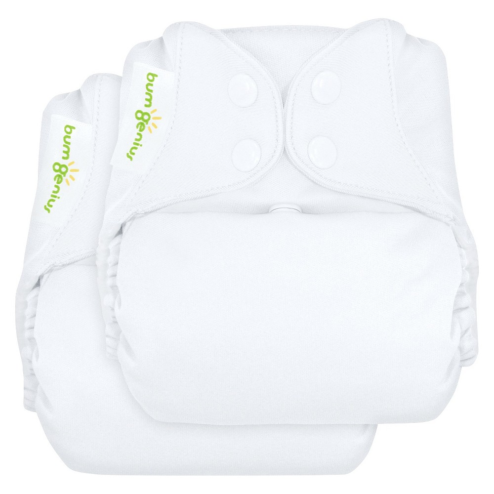 bumGenius Freetime All-in-One Snap Reusable Diaper 2 Pack - White, One Size