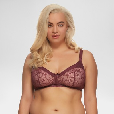 Paramour Women's Micro and Lace Wirefree Nursing Bra - Purple 38DD
