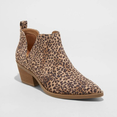 Women's Cari Leopard Print Cut Out Ankle Boots - Universal Thread™ Light Brown