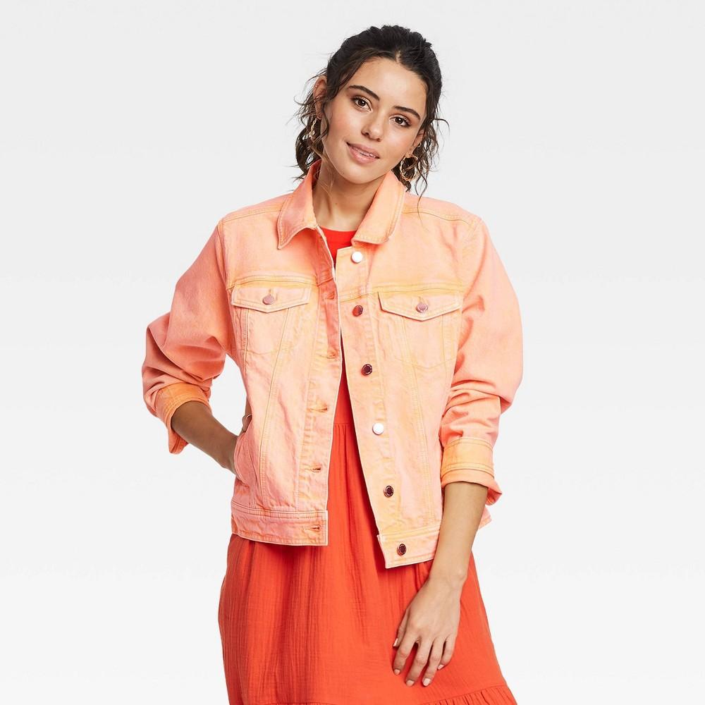 Women 39 S Long Sleeve Denim Jacket Universal Thread 8482 Orange L