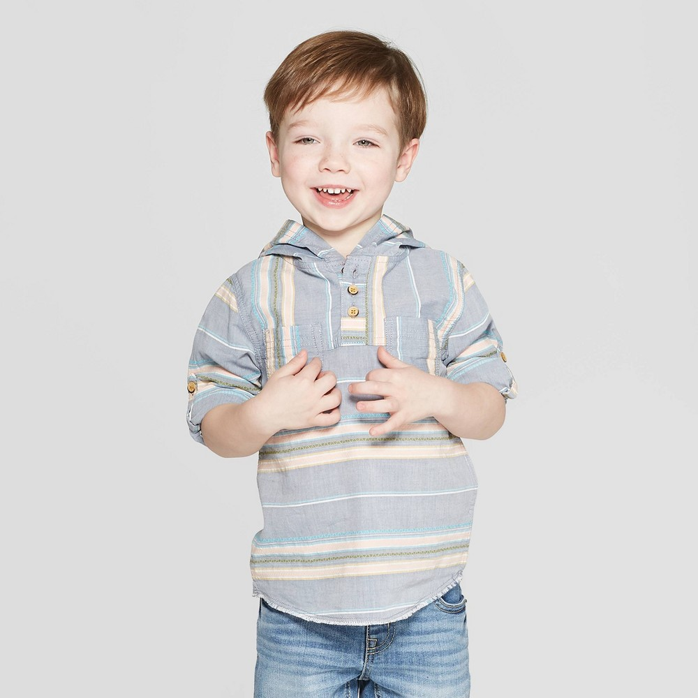 Genuine Kids from OshKosh Toddler Boys' Long Sleeve Stripe Baja Hooded Woven Button-Down Shirt - Metallic Blue 2T