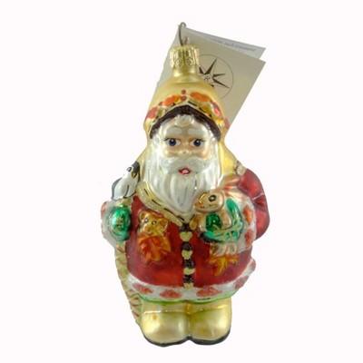 Christopher Radko Frosty Leaf Jr Ornament Christmas Santa  -  Tree Ornaments