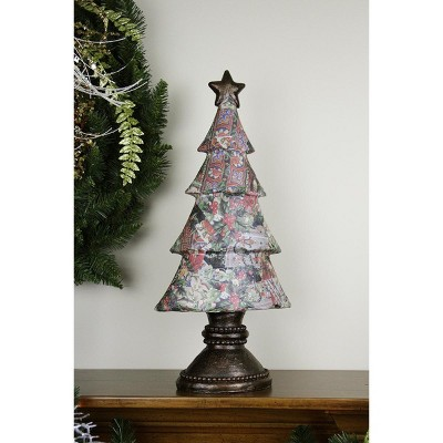 """Gallerie II 20"""" Black and Red Victorian Holly Berry Decoupage Christmas Tree Tabletop Decor"""