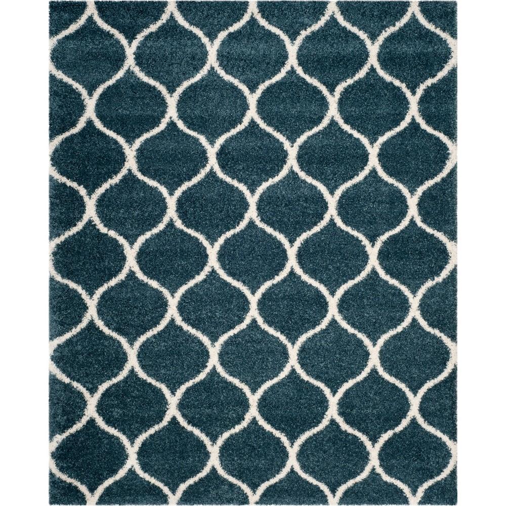 9 39 X12 39 Kamila Area Rug Slate Blue Ivory Safavieh