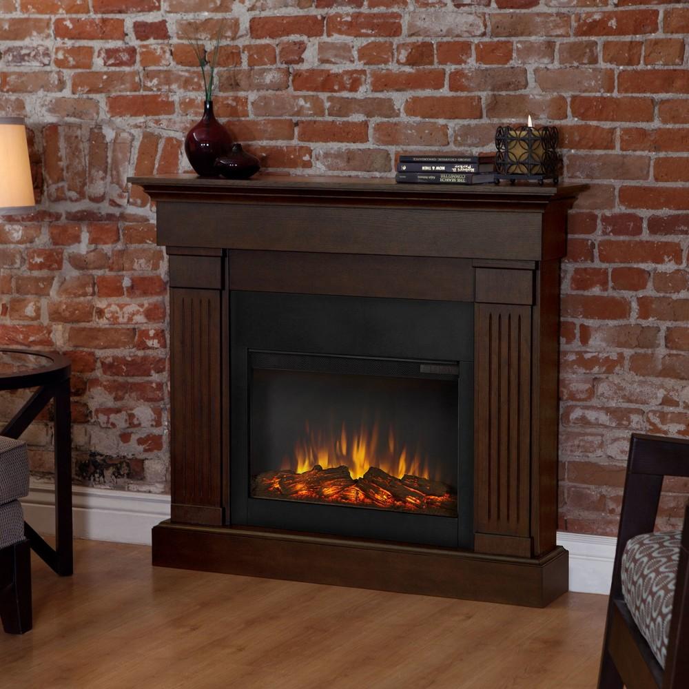Real Flamecrawford Slim Electric Fireplace Dark Brown