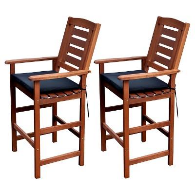 Miramar Set Of 2 Hardwood Outdoor Bar Height Chairs   Cinnamon Brown/Black    CorLiving : Target