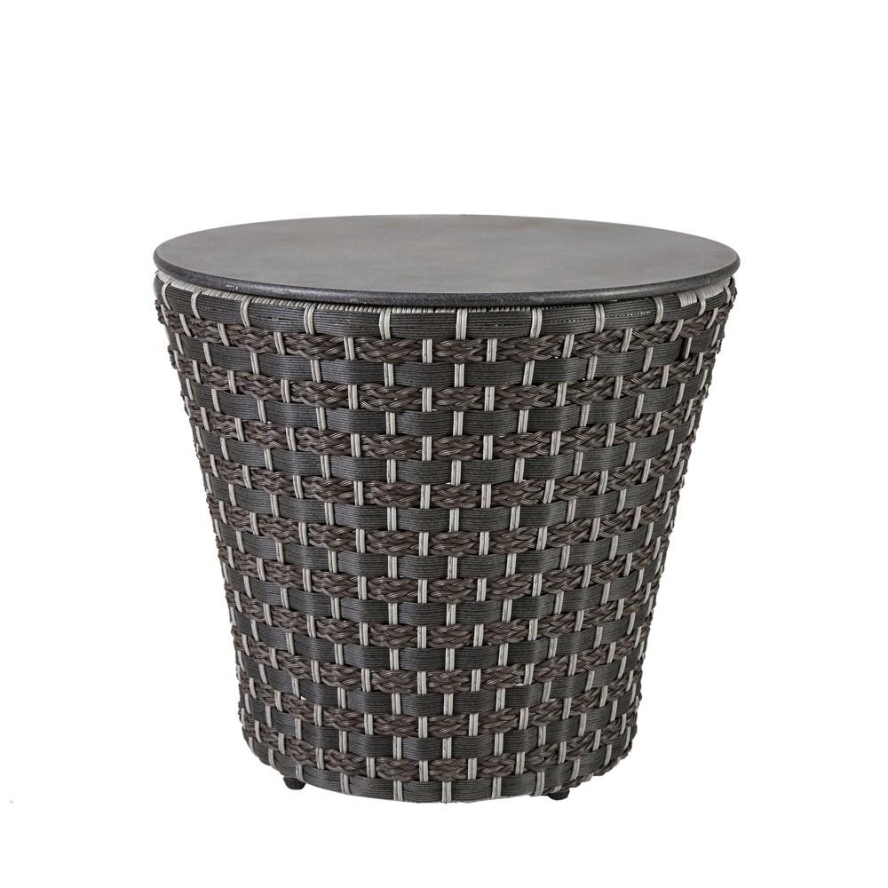Laporte Outdoor Resin Wicker Basketweave Table Dark Gray