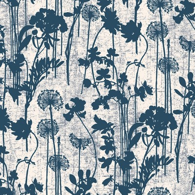 Distressed Floral Self Adhesive Removable Wallpaper Ivory & Navy - Tempaper