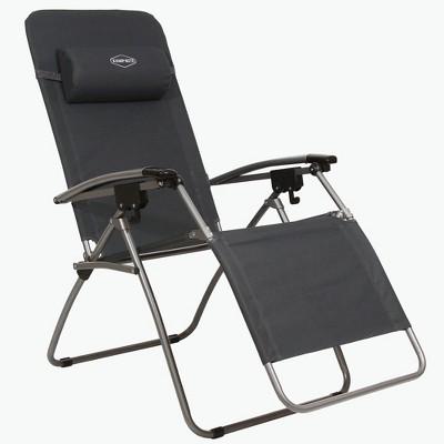 Kamp-Rite KAMPAC079 Outdoor Furniture Camping Beach Patio Sports Anti Gravity Folding Reclining Chair, Gray