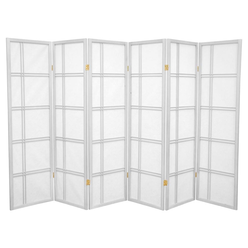 5 ft. Tall Double Cross Shoji Screen - White (6 Panels) - Oriental Furniture