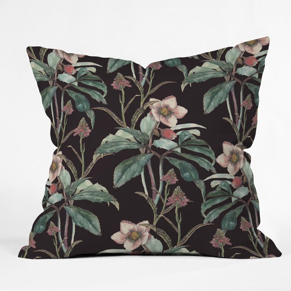 CayenaBlanca Dramatic Garden Square Throw Pillow Black - Deny Designs