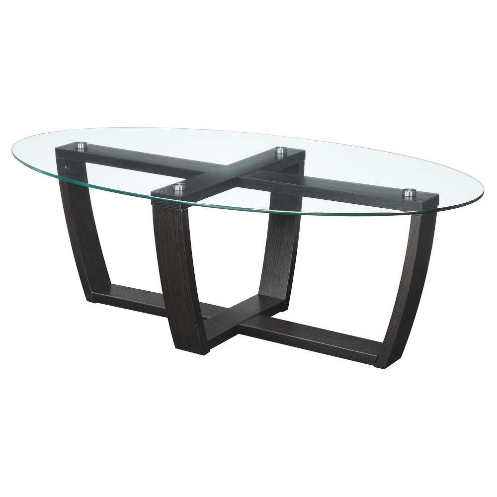 Newport Glass Top Coffee Table - Convenience Concepts
