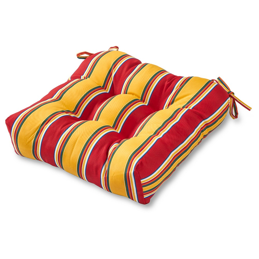 Image of Carnival Stripe Outdoor Seat Cushion - Greendale Home Fashions, Red
