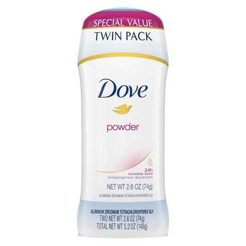 Dove Powder 24-Hour Invisible Solid Antiperspirant & Deodorant Stick - 2pc/5.2oz - image 1 of 4
