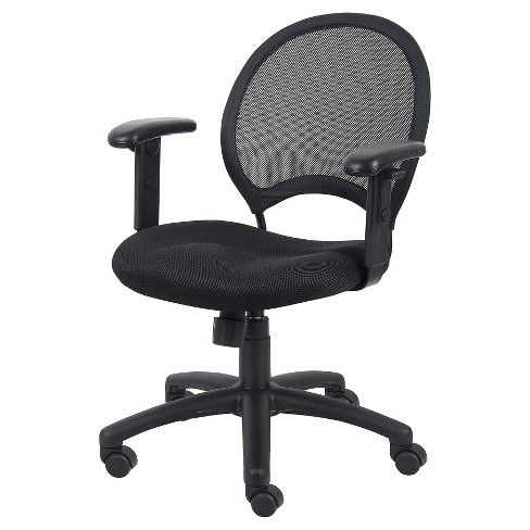 Mesh Chair With Adjustable Arms Black - Boss Office Products - image 1 of 4