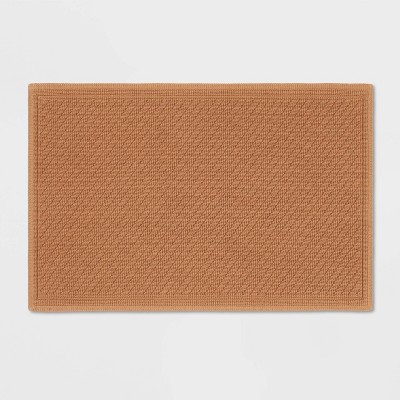 "21""x30"" Performance Solid Cotton Bath Mat Brown - Threshold™"