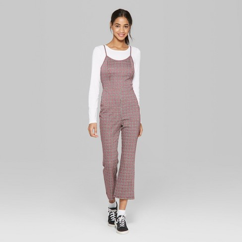 362672b577 Women s Plaid Strappy Knit Jumpsuit - Wild Fable™ Red XS   Target