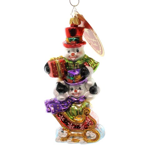Christopher Radko Dashing Through The Snow Ornament Snowman Sleigh  -  Tree Ornaments - image 1 of 2
