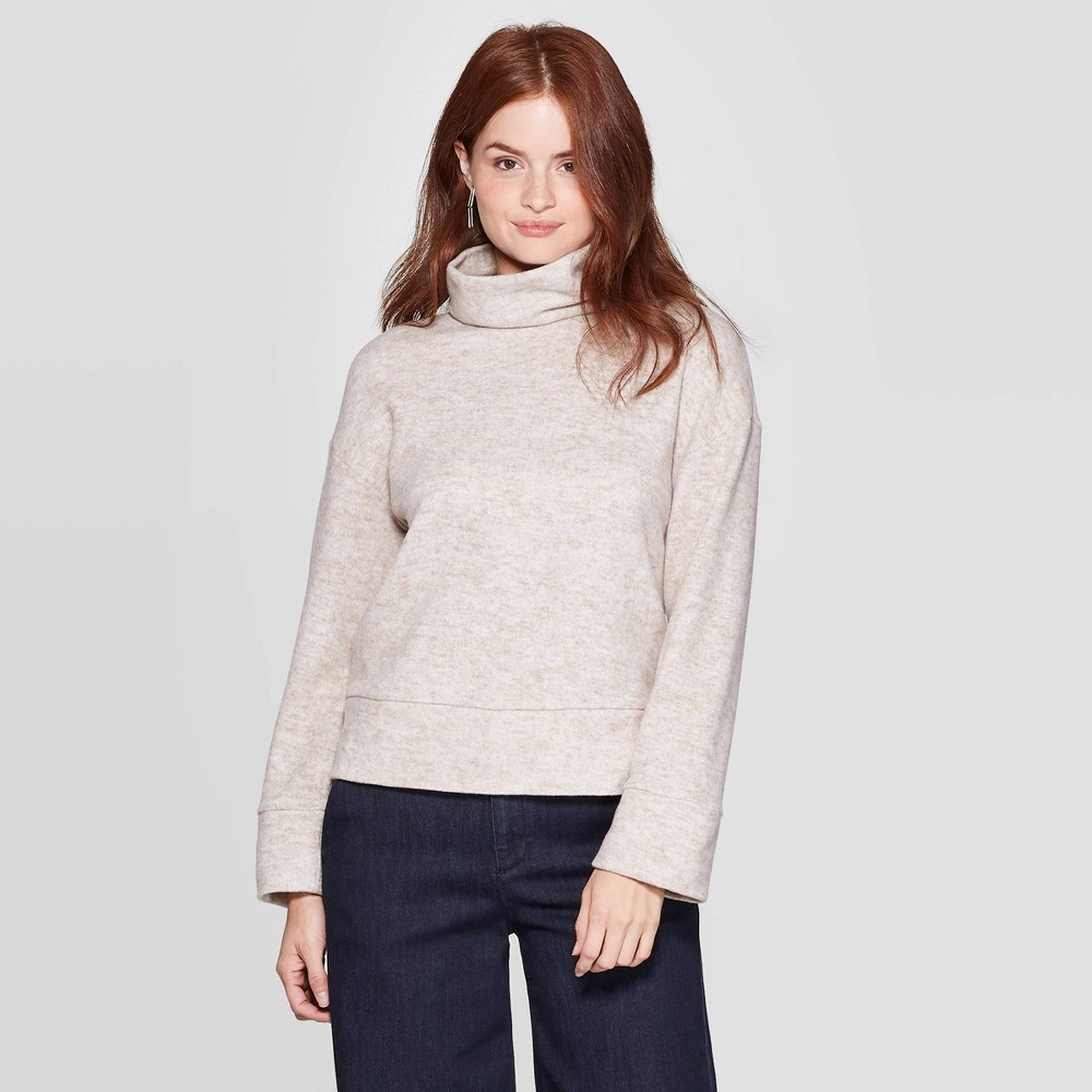 Women's Turtleneck Cozy Pullover - A New Day Tan XS was $27.99 now $19.59 (30.0% off)