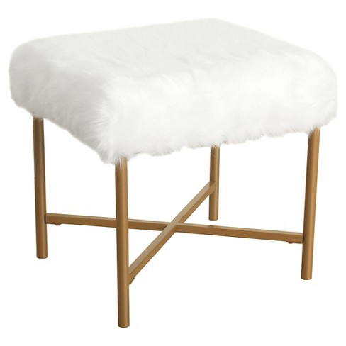 Faux Fur White Stool - HomePop - image 1 of 5