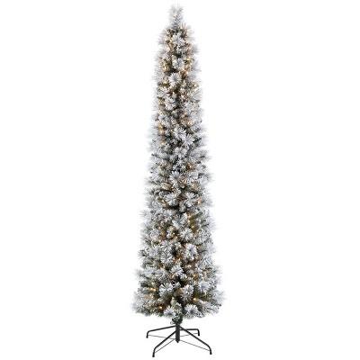 7.5ft Pre-lit Slim Pencil Christmas Tree Flocked Portland Pine