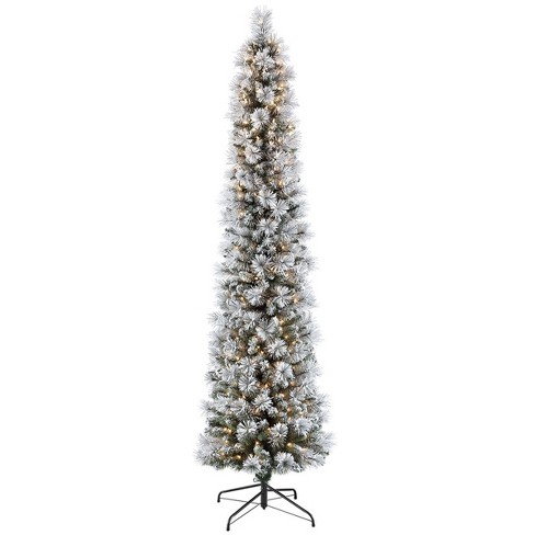 the best attitude f256f dac8e 7.5ft Pre-lit Artificial Pencil Christmas Tree Flocked Portland Pine