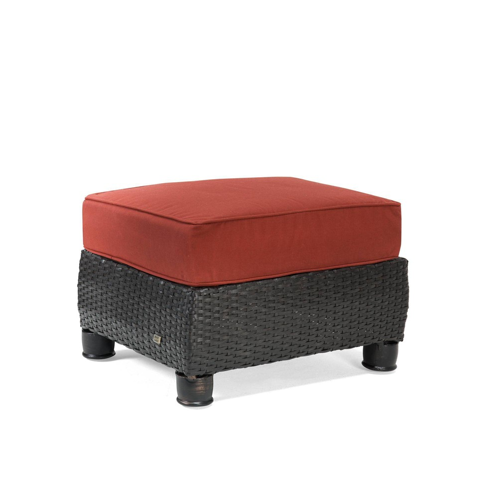 Image of Breckenridge Wicker Outdoor Ottoman with Sunbrella Meredian Brick Cushion - Red - La-Z-Boy