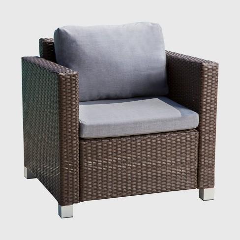 Azusa Outdoor Wicker Patio Chair Gray Abbyson Living