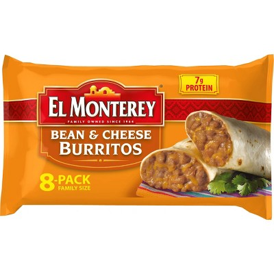 El Monterey Family Pack Bean & Cheese Frozen Burritos - 8ct