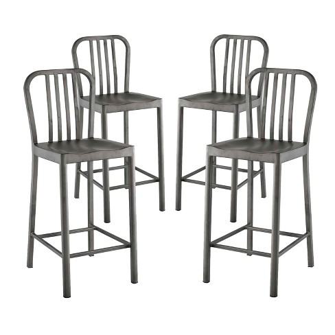 Clink Counter Stool Set of 4 Silver - Modway - image 1 of 6