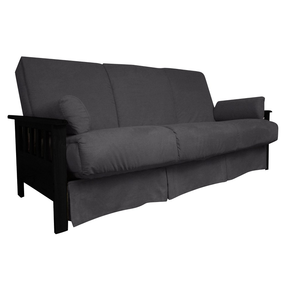 Mission Perfect Convertible Futon Sofa Sleeper - Black Finish Wood Arms - Slate (Grey) Gray Upholstery - Queen-size - Sit N Sleep