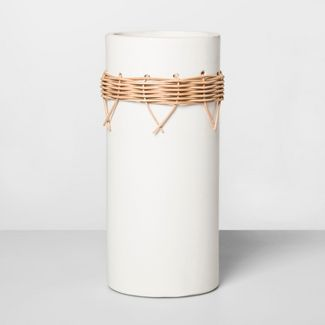 """13.3"""" x 5.9"""" Earthenware Vase With Rattan Accents White/Brown - Opalhouse™"""