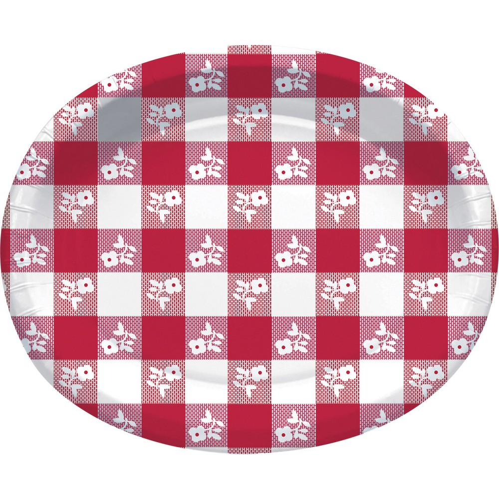 24ct Red Gingham Oval Plates Red