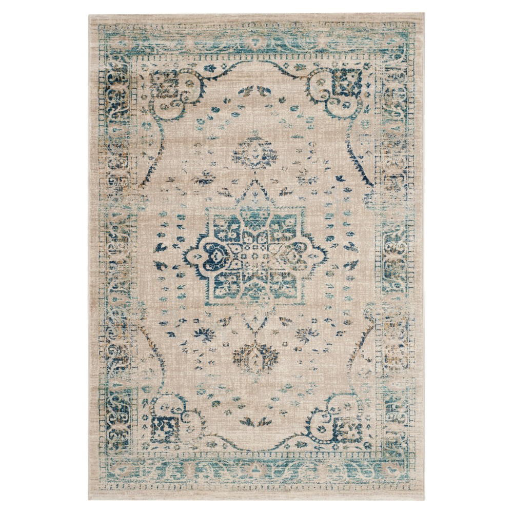 Beige Turquoise Abstract Loomed Area Rug 5 39 1 34 X7 39 6 34 Safavieh