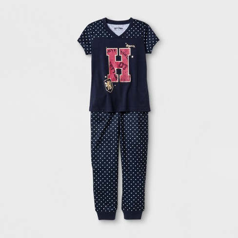 Girls' Harry Potter Graphic 2pc Pajama Set - Navy - image 1 of 4